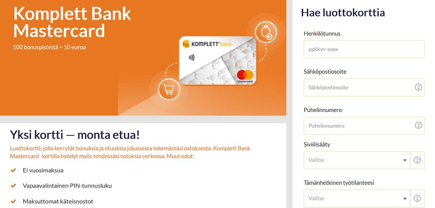 komplett bank mastercard