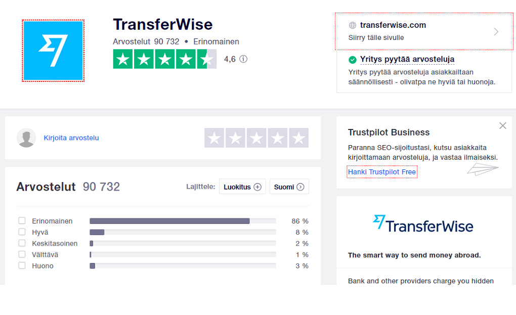 Transferwise arvostelut