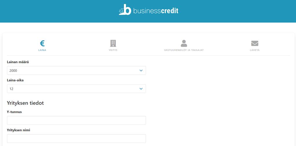 BusinessCredit lainahakemus